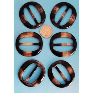 Accessories - 6 pc T-Shirt Slide Clip Ring Buckle-Oval Black/Tan